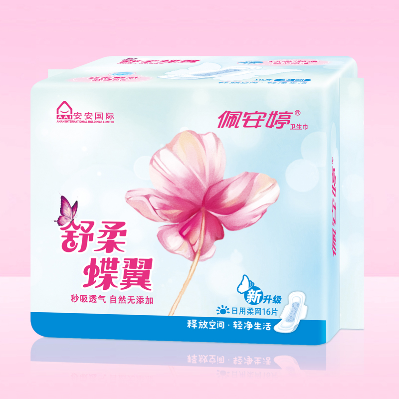 舒柔蝶翼16片日用网面卫生巾PJ01066
