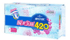 瞬爽安睡420mm特长夜用棉面卫生巾4片PT02085